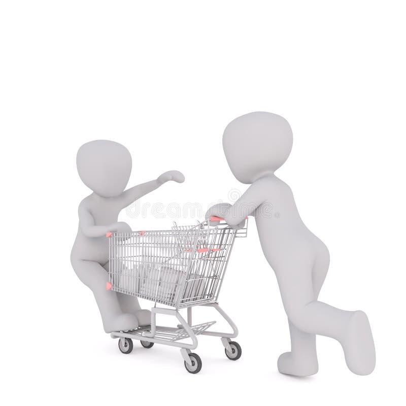 uomo 3d che spinge un bambino su un carrello illustrazione di stock