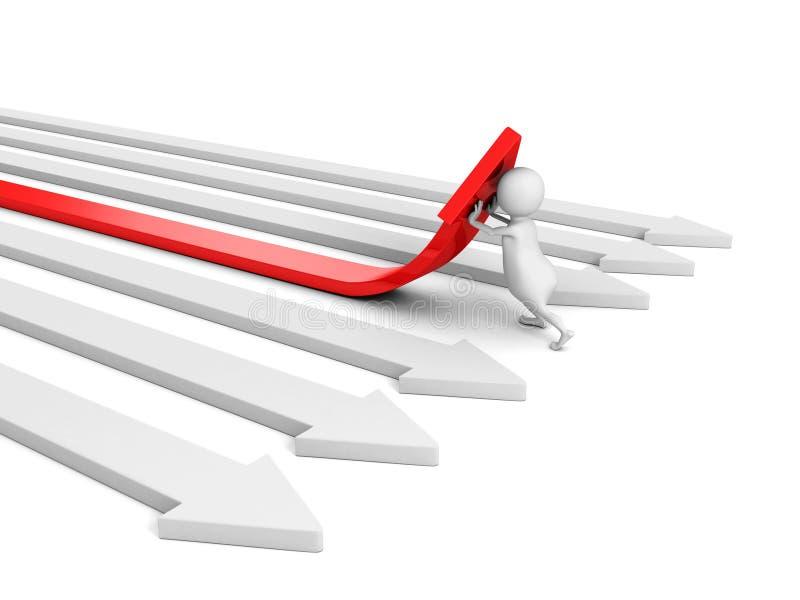 uomo 3d che spinge una freccia rossa su da altre Sfera differente 3d illustrazione di stock