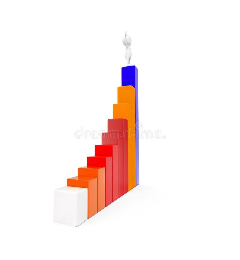 uomo 3d che sta sulla cima di più alto concetto statico del grafico royalty illustrazione gratis