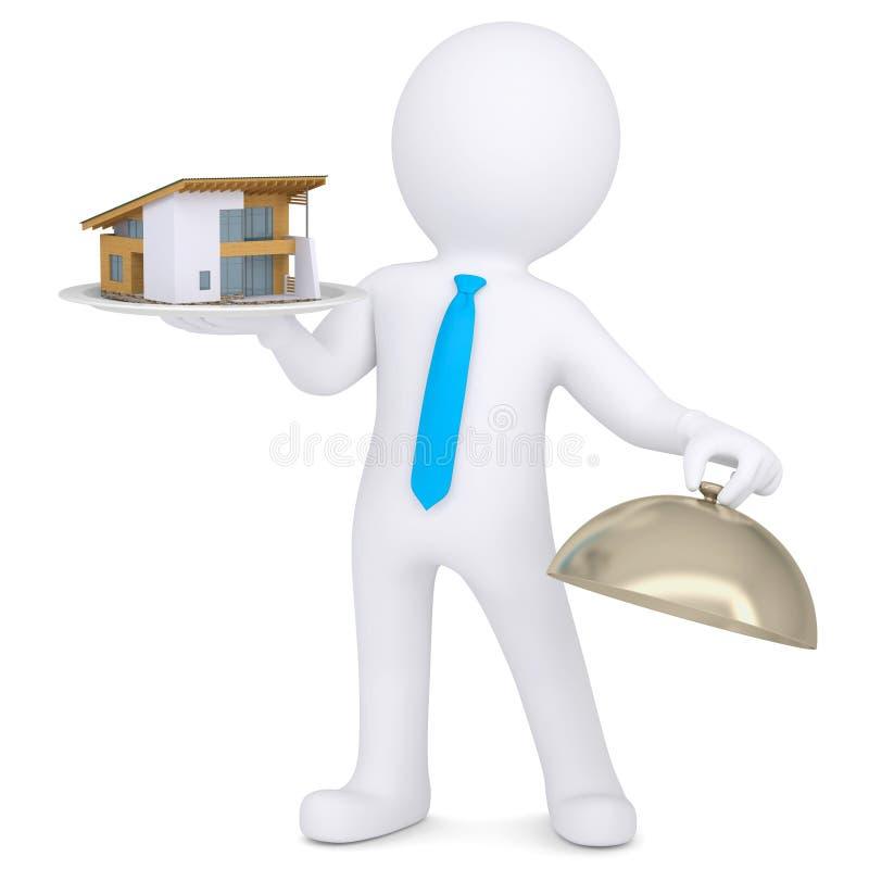 uomo 3d che tiene una casa su un vassoio illustrazione di stock