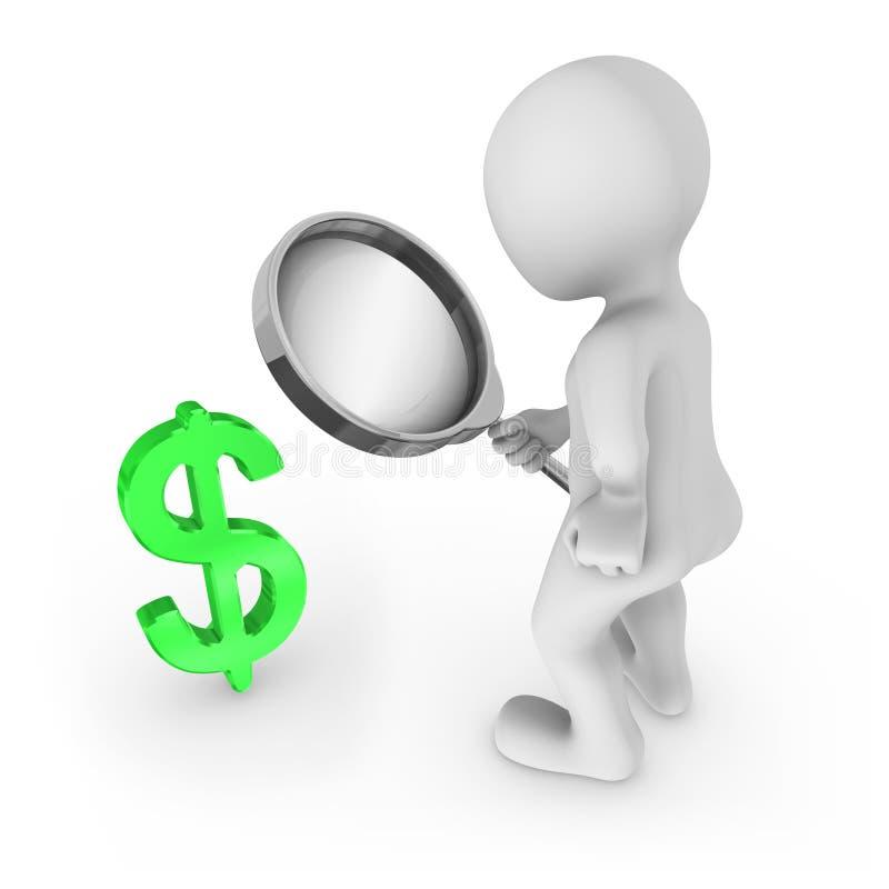 uomo 3d con gli sguardi della lente d'ingrandimento al simbolo del dollaro illustrazione vettoriale