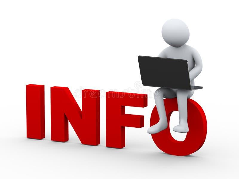 uomo 3d con il computer portatile che si siede sulle informazioni di parola illustrazione di stock
