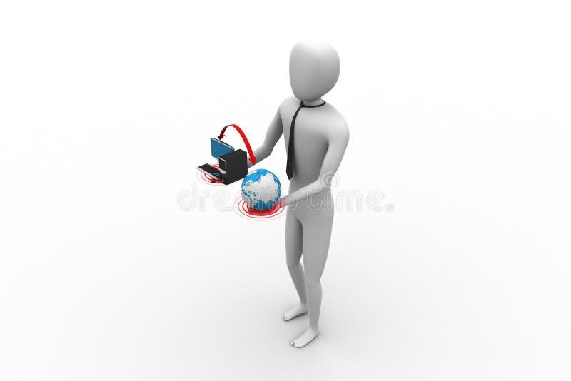 uomo 3d con il globo ed il computer illustrazione vettoriale