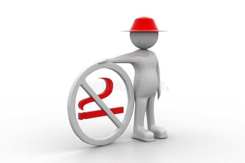 uomo 3d con il simbolo non fumatori illustrazione vettoriale