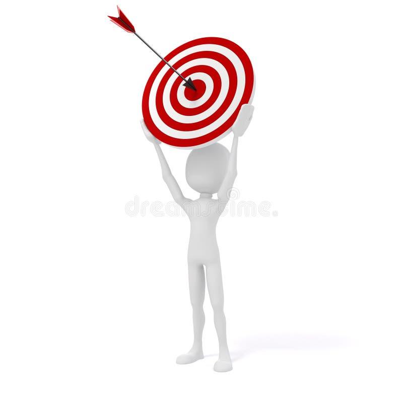uomo 3d con l'obiettivo e le frecce royalty illustrazione gratis
