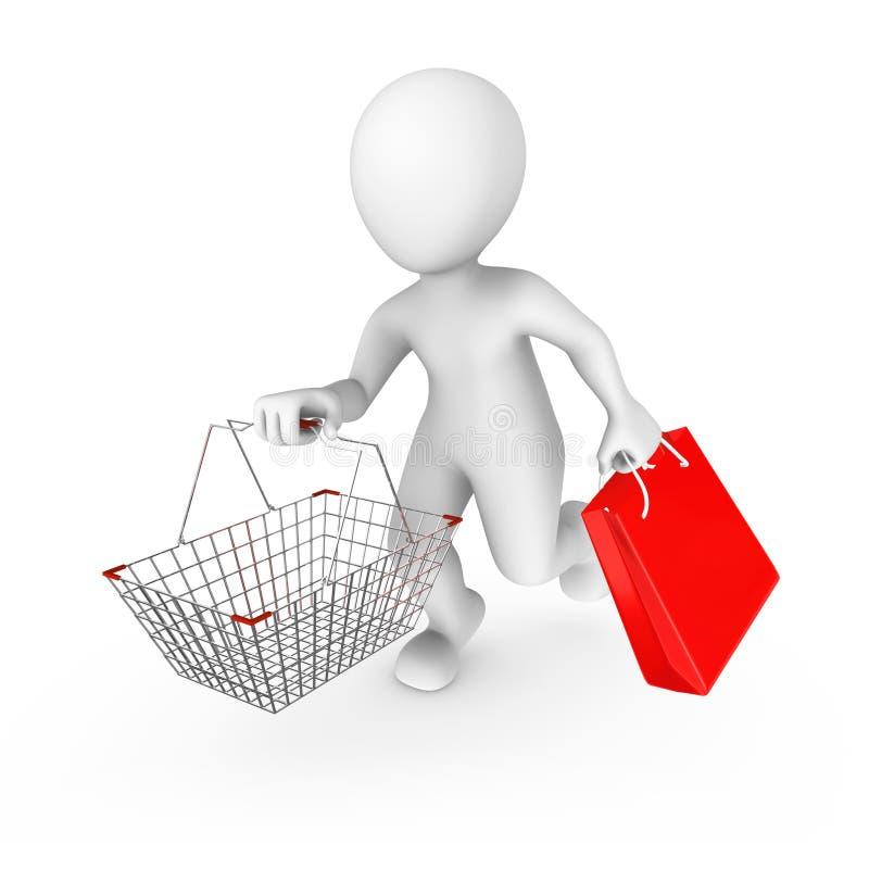 uomo 3d con un carrello sulla vendita illustrazione di stock