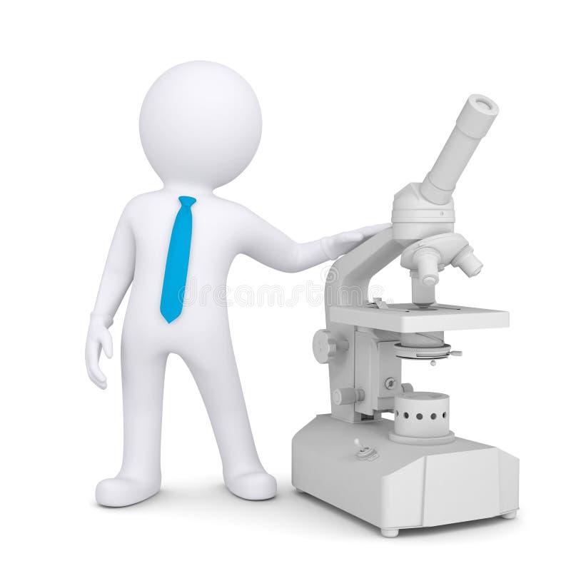 uomo 3d con un microscopio illustrazione vettoriale