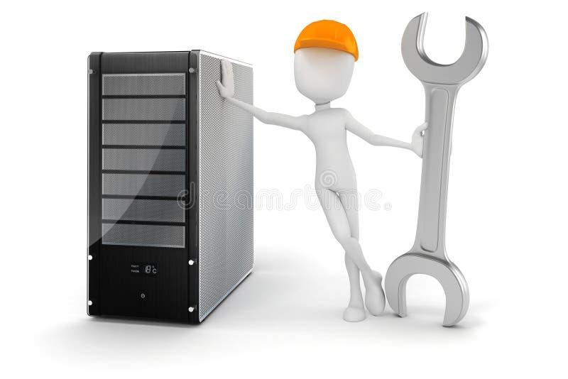 uomo 3d e server, manutenzione di hardware illustrazione di stock