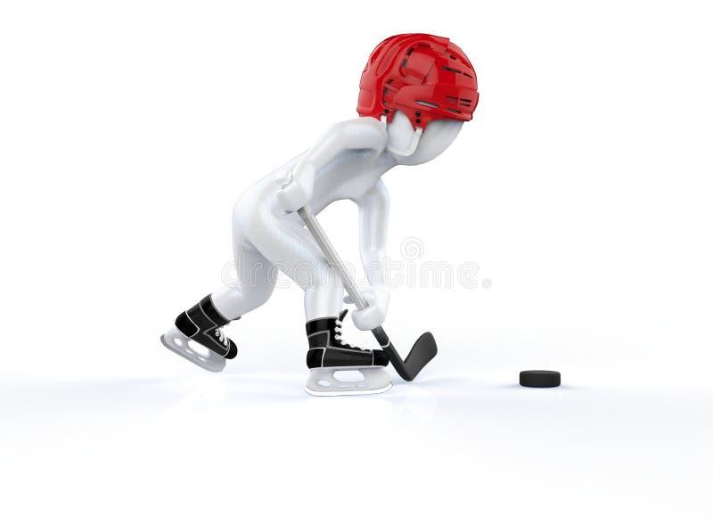 uomo 3d nei caschi rossi dell'hockey, pattinanti su un fondo bianco. illustrazione vettoriale