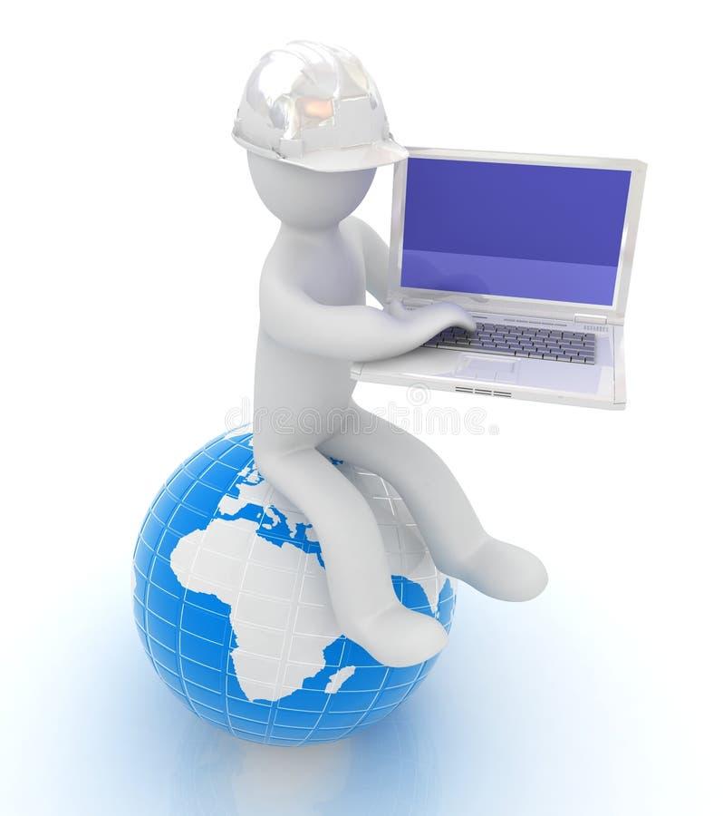 uomo 3d in un casco che si siede sulla terra e che funziona al suo computer portatile royalty illustrazione gratis