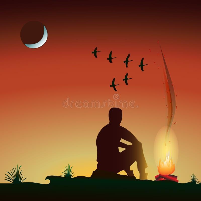 Uomo dal fuoco nella sera, al tramonto, sotto la luna, cuneo di volo degli uccelli royalty illustrazione gratis