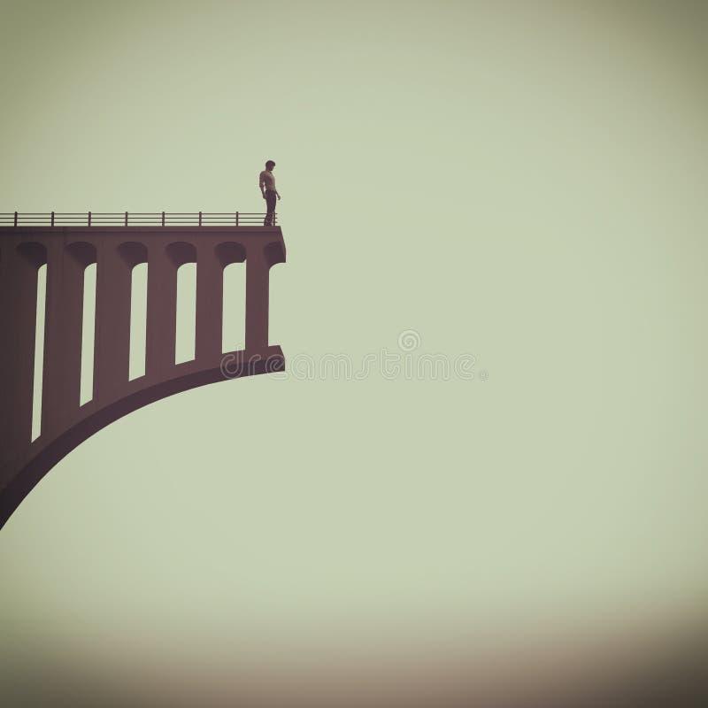 Uomo davanti ad un ponte rotto illustrazione vettoriale