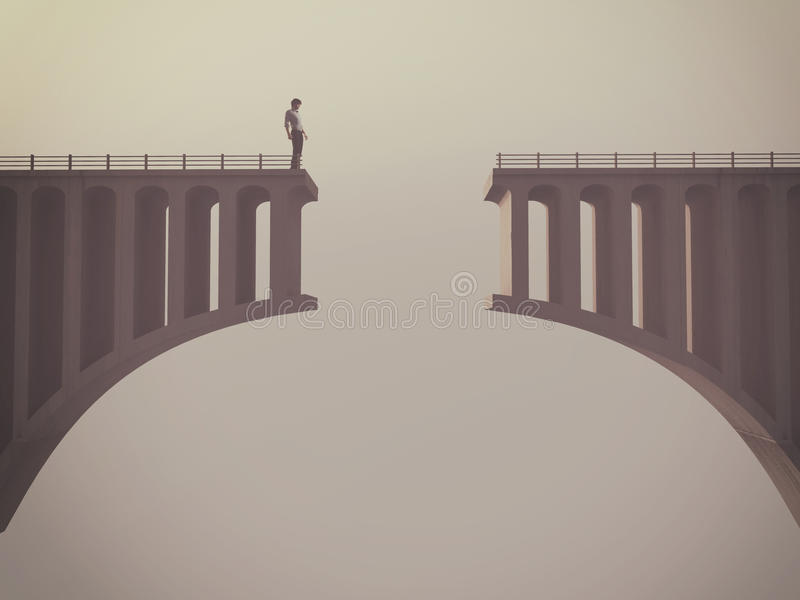 Uomo davanti ad un ponte rotto royalty illustrazione gratis