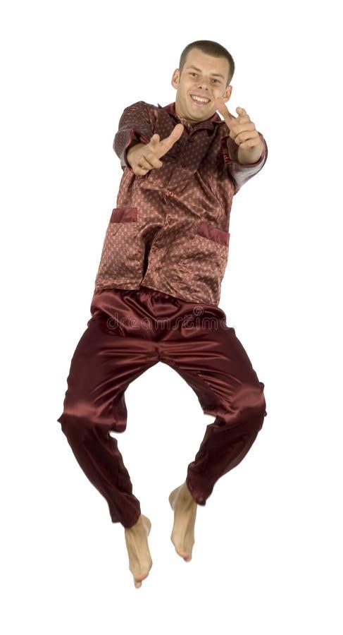 Uomo dei pigiami di volo fotografie stock