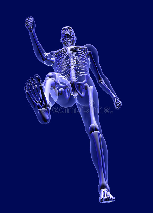 Uomo dei raggi X che cammina - da sotto - con il percorso di residuo della potatura meccanica illustrazione vettoriale