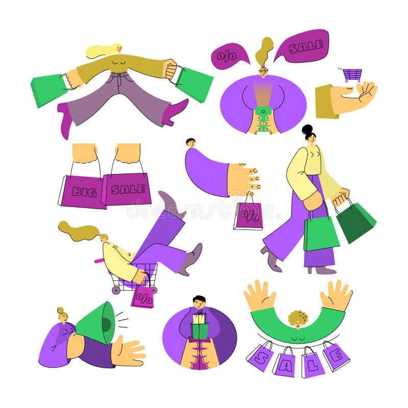 Uomo del carattere di vendita e donna, regali, borse royalty illustrazione gratis
