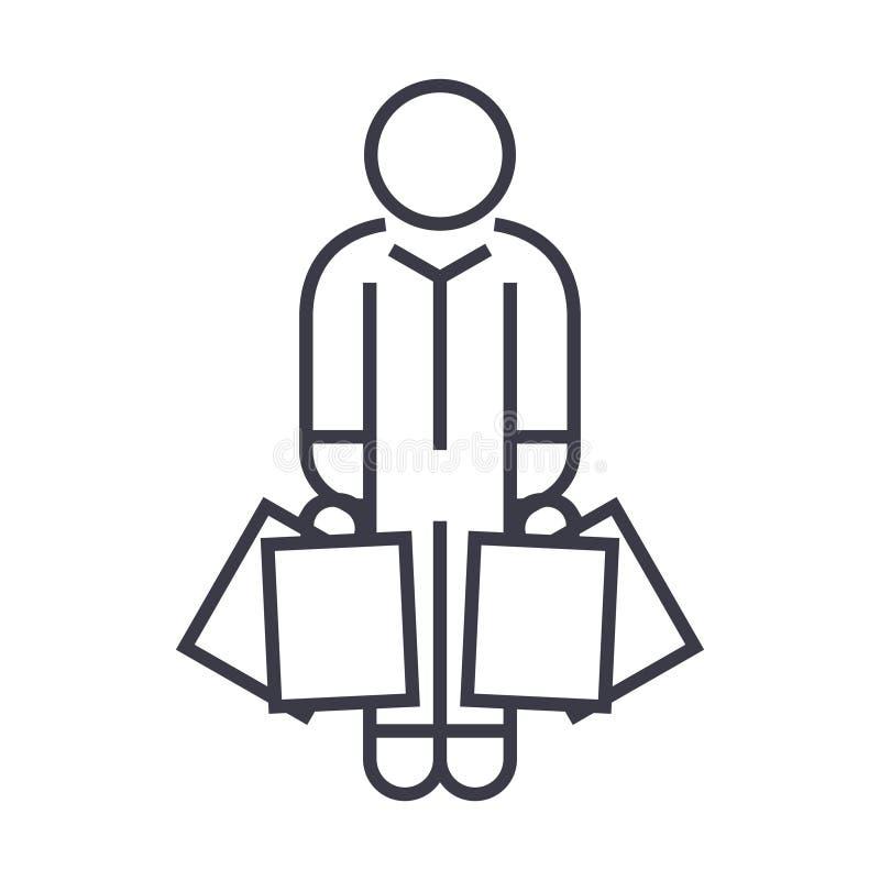 Uomo del cliente con l'icona lineare delle borse, segno, simbolo, vettore su fondo isolato illustrazione vettoriale