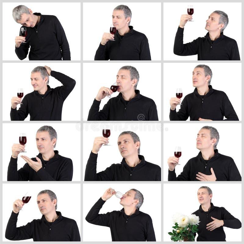 Uomo del collage che assaggia un vetro di porto rosso fotografia stock libera da diritti