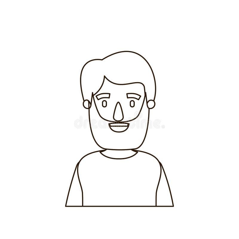 Uomo del corpo di contorno di schizzo mezzo barbuto con la maglietta illustrazione vettoriale