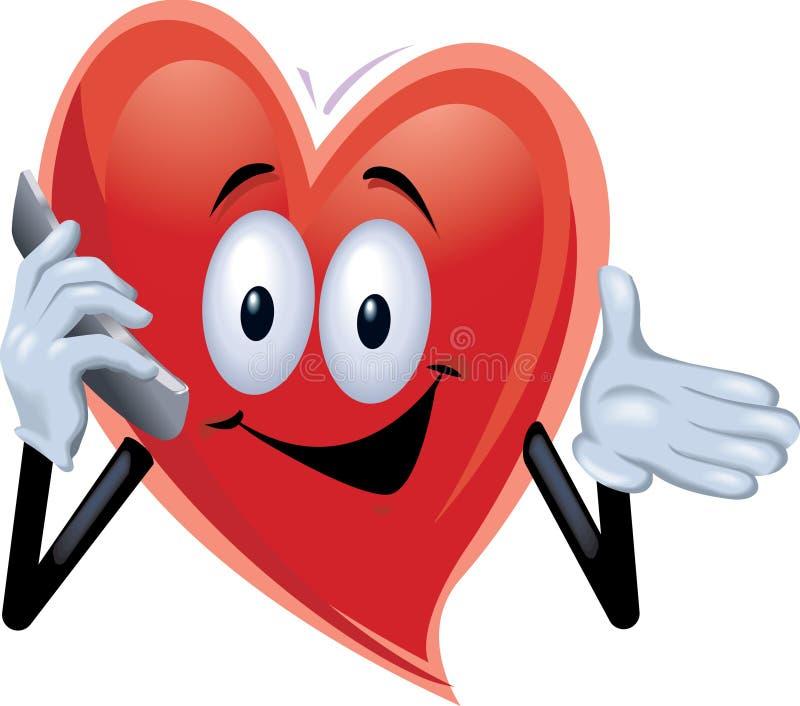 Uomo del cuore che comunica su un telefono delle cellule illustrazione vettoriale