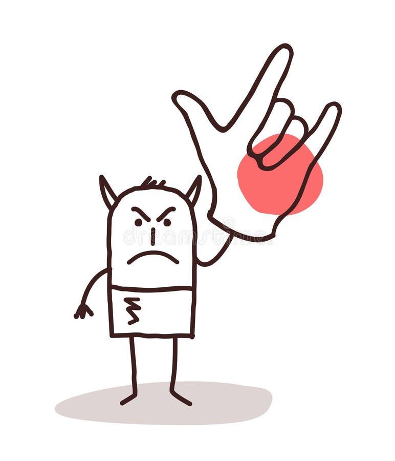 Uomo del diavolo del fumetto con il segno della grande mano illustrazione di stock