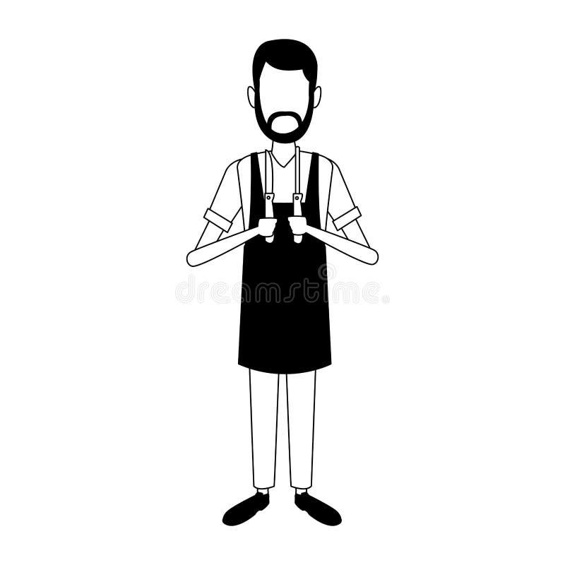 Uomo del fornello con gli utensili in bianco e nero illustrazione vettoriale