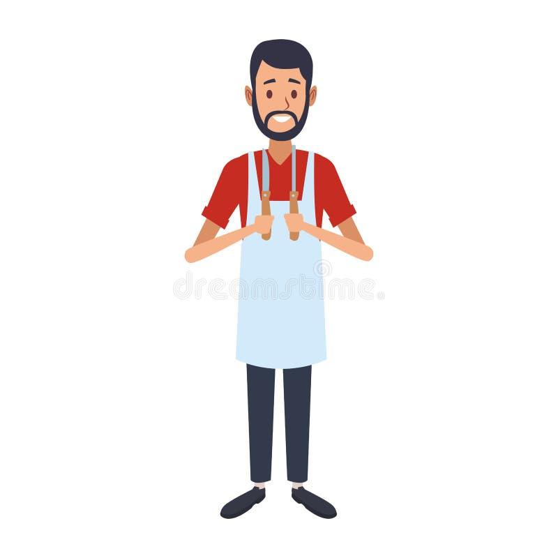 Uomo del fornello con gli utensili illustrazione di stock