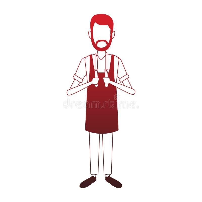 Uomo del fornello con le linee rosse degli utensili illustrazione vettoriale