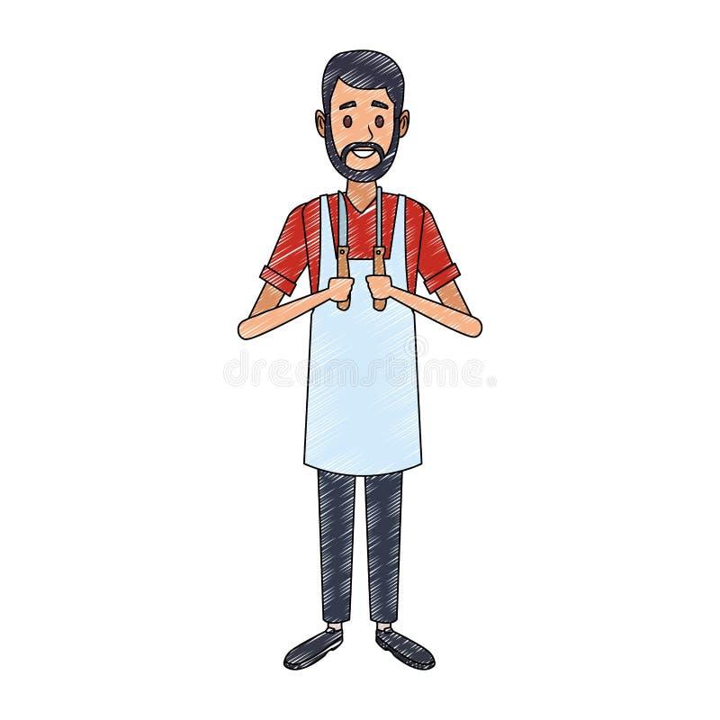 Uomo del fornello con lo scarabocchio degli utensili illustrazione di stock