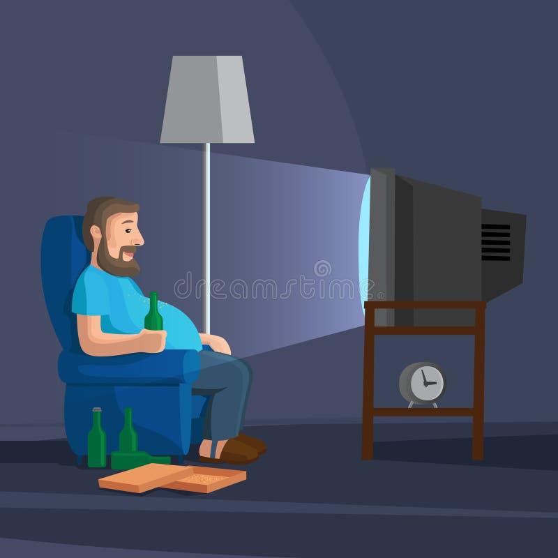 Uomo del fumetto che guarda TV illustrazione di stock