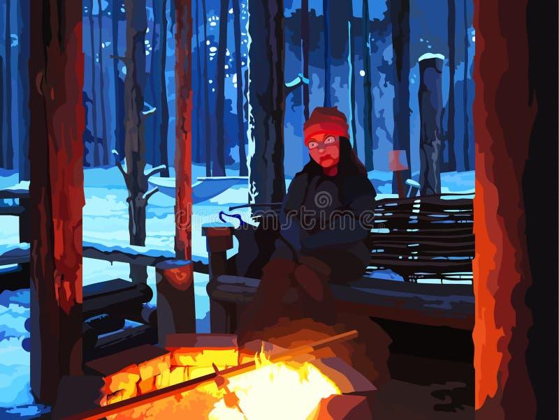 Uomo del fumetto che si siede dal fuoco nella foresta di inverno illustrazione di stock