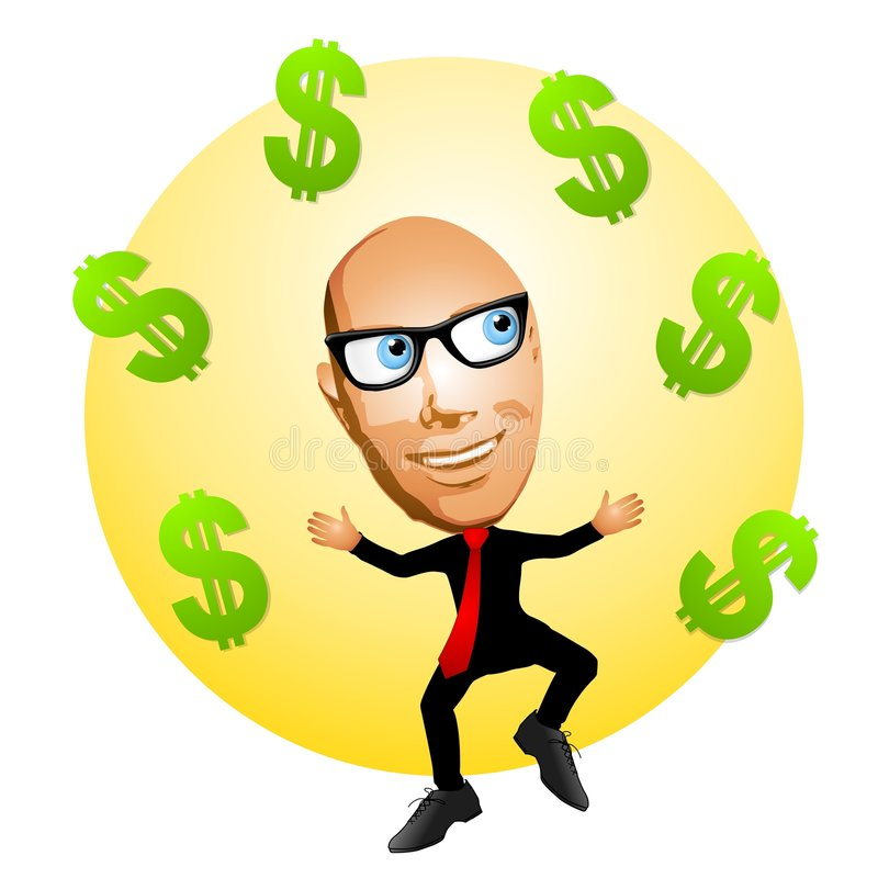 Uomo del fumetto con i segni del dollaro illustrazione vettoriale