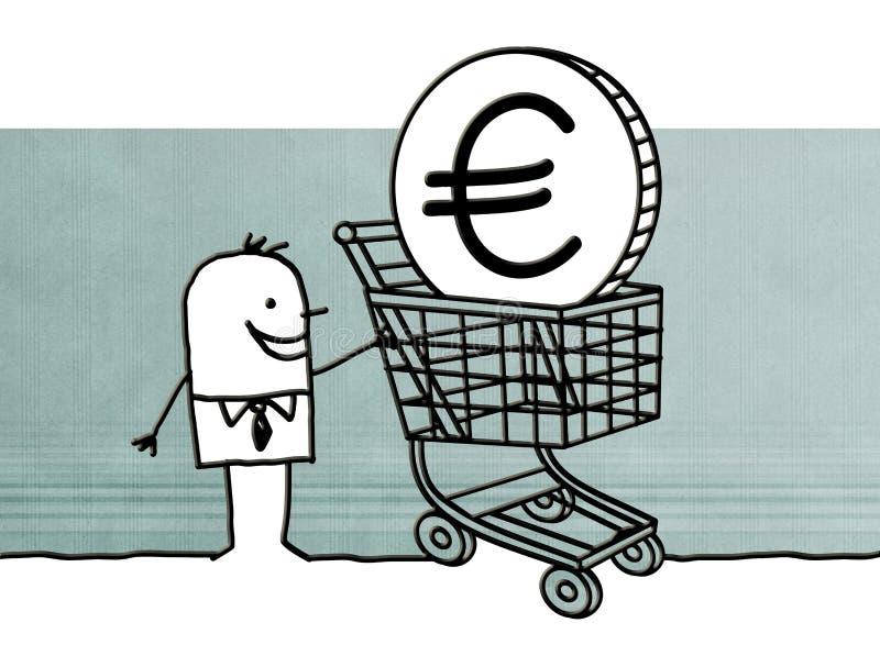 Uomo del fumetto con il carrello ed il segno dell'euro illustrazione di stock