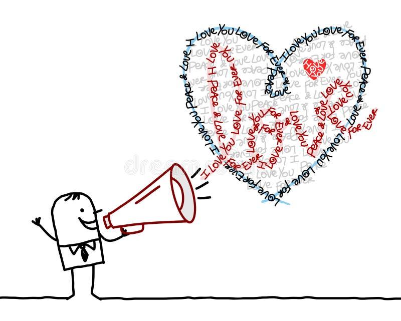 Uomo del fumetto con il megafono ed il cuore di Calligram illustrazione di stock