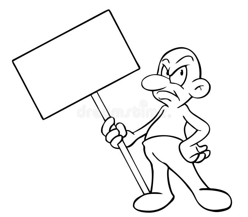 Uomo del fumetto con il segno in bianco illustrazione di stock