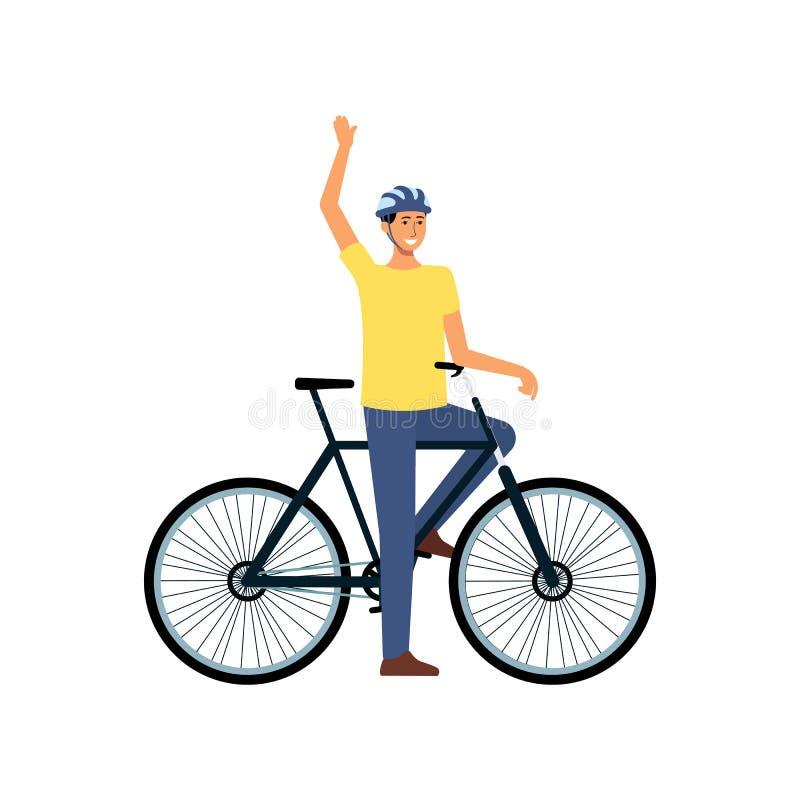 Uomo del fumetto con la bicicletta che sta e che ondeggia, ciclista maschio felice con il casco fermato sul giro della bici per a illustrazione di stock