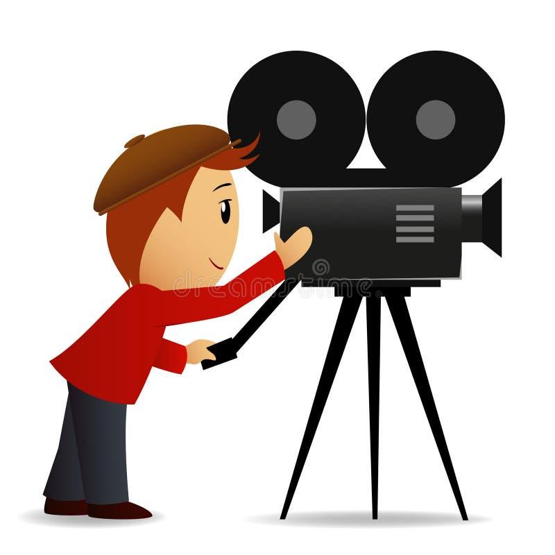 Uomo del fumetto con la macchina fotografica di film illustrazione di stock