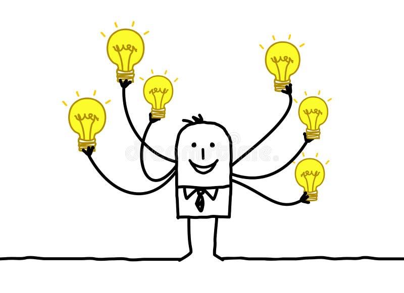 Uomo del fumetto con le multi lampadine illustrazione di stock