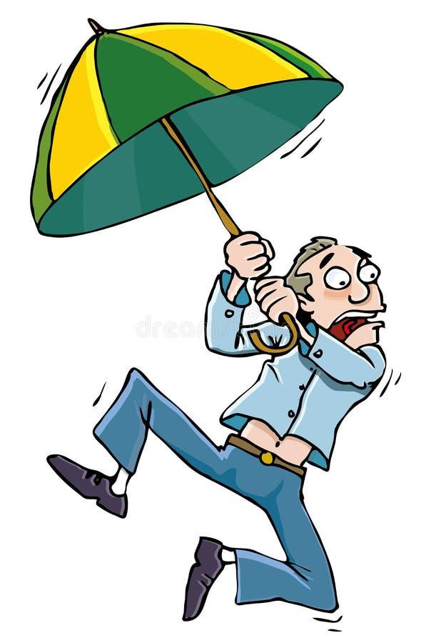 Uomo del fumetto con umbrellabeing sbattuto via illustrazione di stock