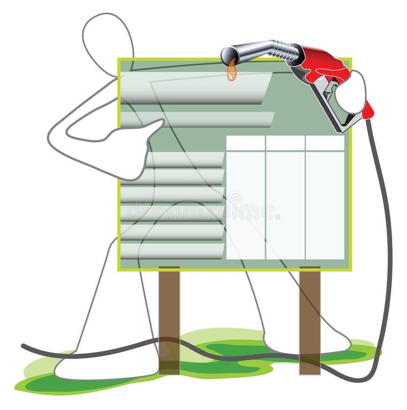 Uomo del fumetto di simbolo del bordo di prezzo del petrolio illustrazione vettoriale