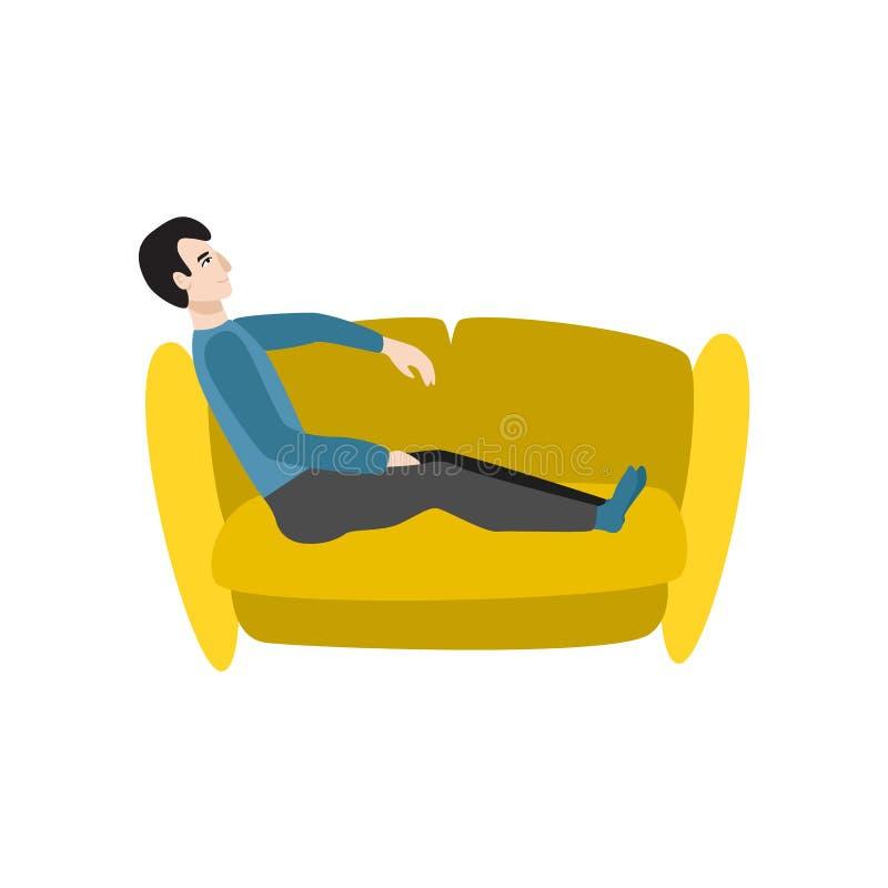 Uomo del fumetto di vettore che si siede al riposo del sofà illustrazione di stock
