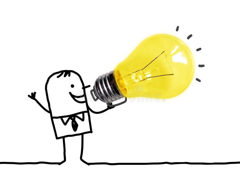 Uomo del fumetto facendo uso di grande lampadina come megafono immagini stock