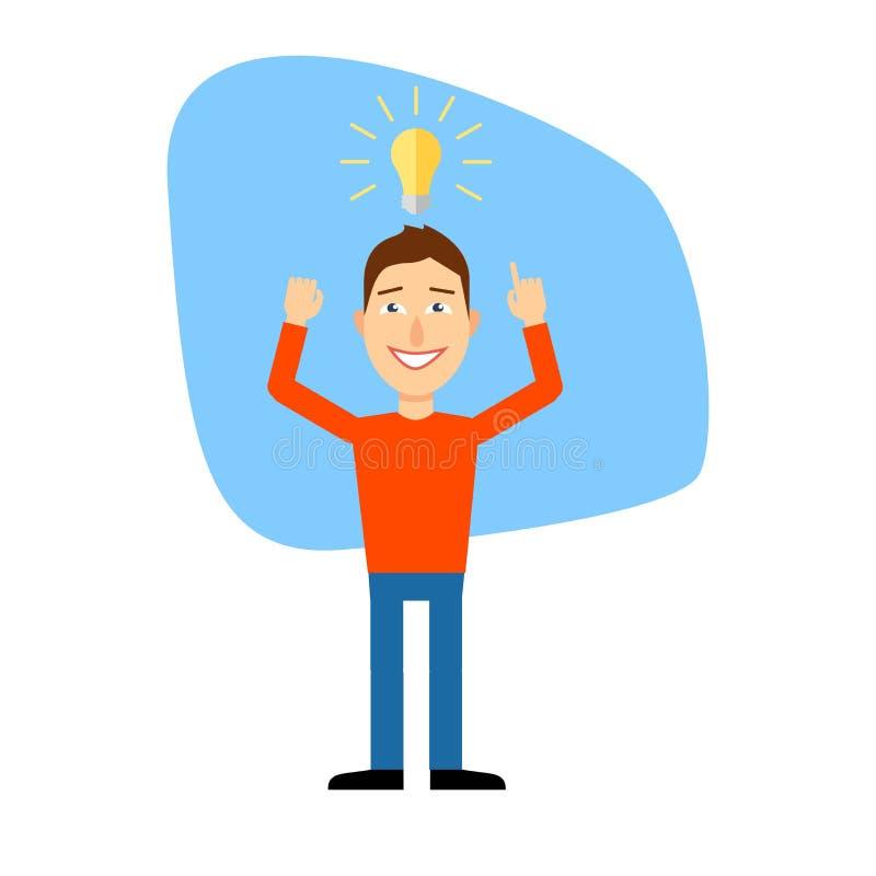 Uomo del fumetto Idea di concetto illustrazione di giovane uomo creativo del fumetto che indica alla lampadina come simbolo di av illustrazione di stock