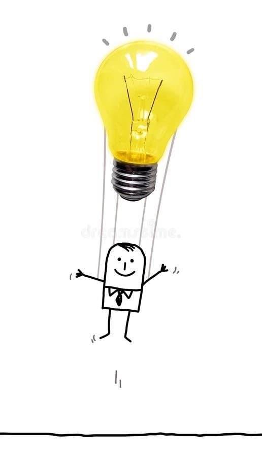 Uomo del fumetto nell'aria con un pallone della lampadina fotografia stock