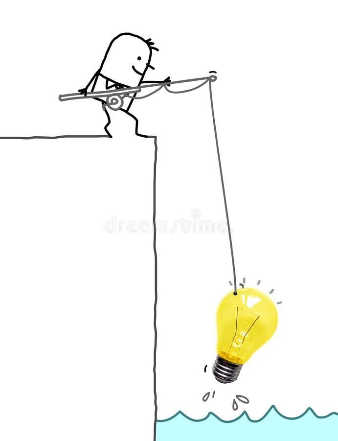 Uomo del fumetto su alto Cliff Fishing una grande lampadina immagini stock