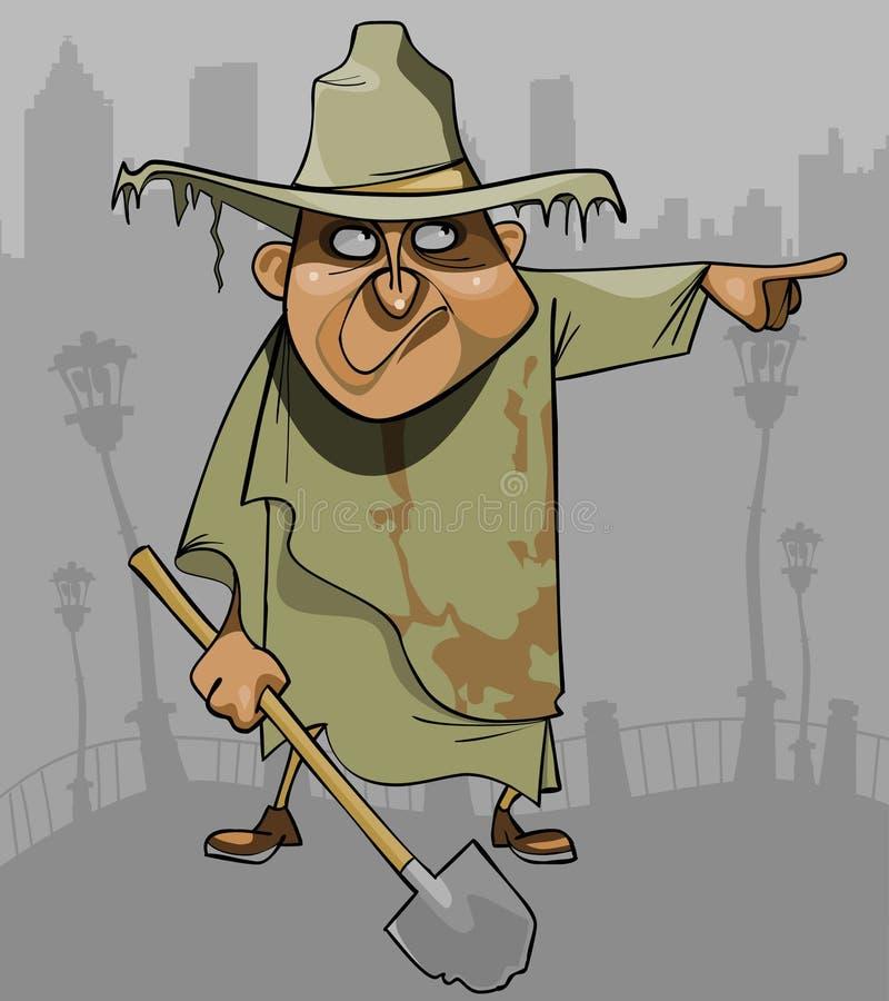 Uomo del fumetto in vestiti stracciati sporchi con una pala che indica nella direzione royalty illustrazione gratis