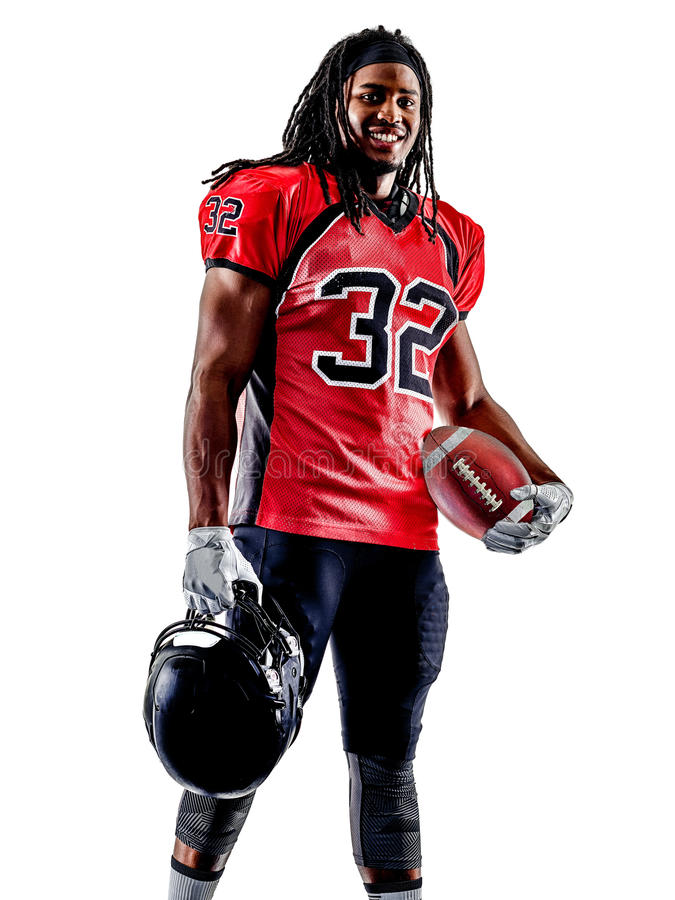 Uomo del giocatore di football americano isolato immagine stock