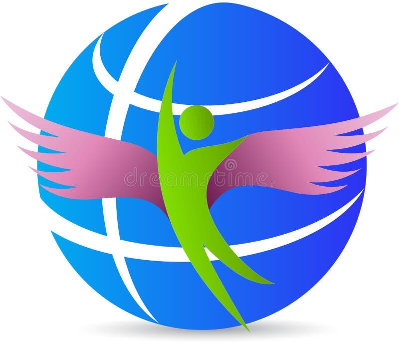 Uomo del globo con le ali illustrazione di stock