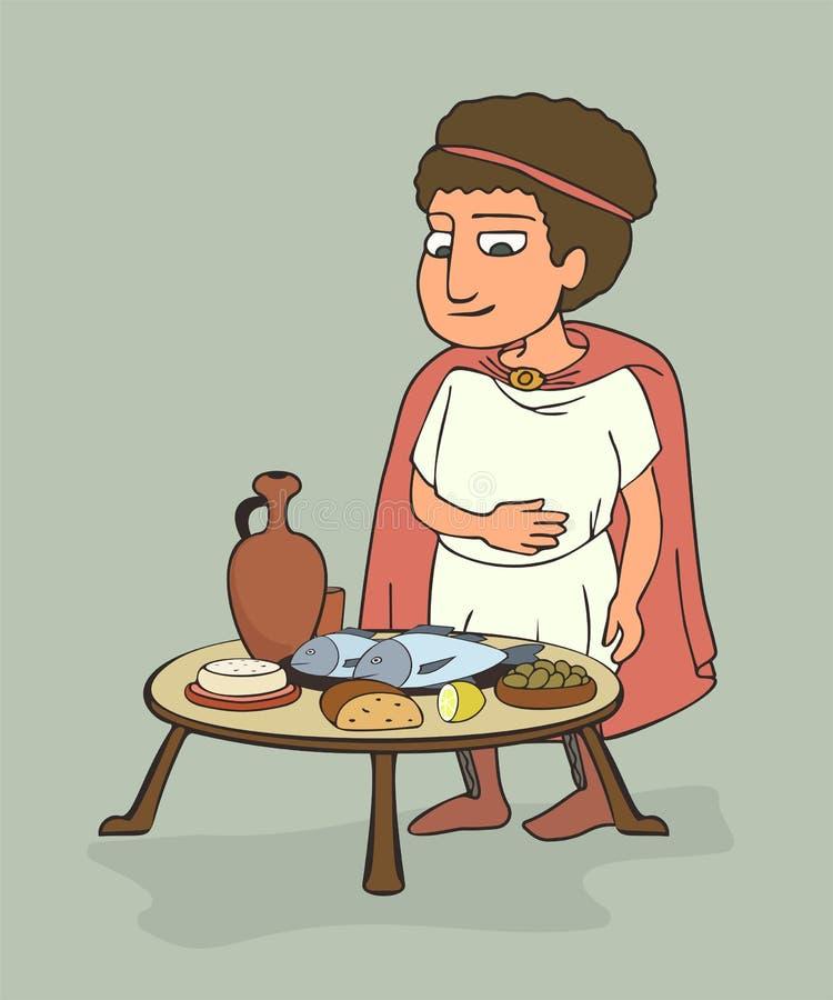 Uomo del greco antico cenando fumetto illustrazione vettoriale