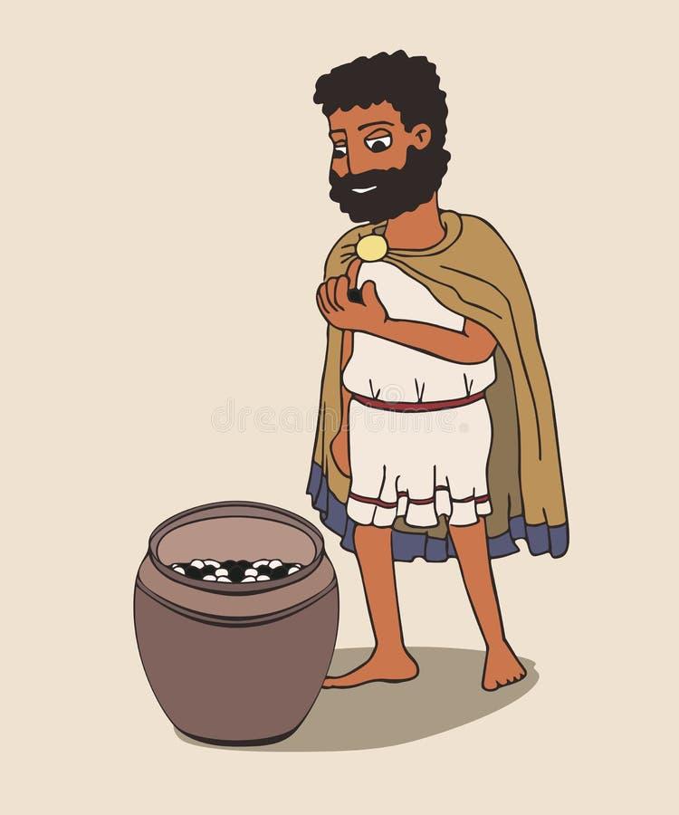 Uomo del greco antico che va votare con il ciottolo royalty illustrazione gratis